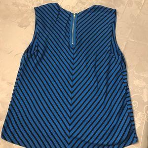 Ann Taylor Tops - Ann Taylor Blue and Black Striped Sleeveless Shirt
